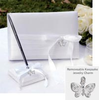 butterfly charm collection set - guest book and pen