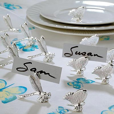 silver butterfly dragonfly place card holder butterfly theme wedding