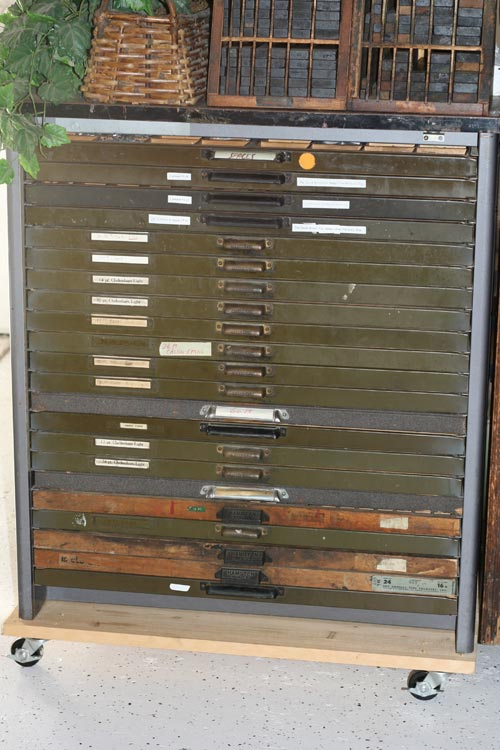 Letterpress Cabinets, Metal Type, Cases, Furniture, and Misc. For Sale